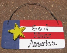 10977AF - God Bless America Wood Sign