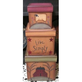 13642 - Live Simply Primitive Nesting Box Set of 3 Boxes Paper Mache'