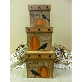 Primitive Nesting Box 202-144 Pumpkin Crow Box set of 3