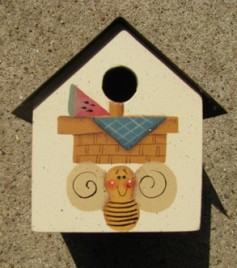 2104BWB- Bee Watermelon Birdhouse Tin Roof