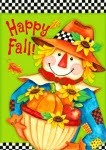 Happy Fall  2244 Checkered Scarecrow Garden Flag