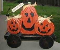 wood pumpkins 2433-5 Pumpkins on Wheels
