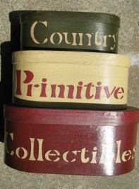 30224E - Country Primitive Collectibles set of 3 Nesting Boxes