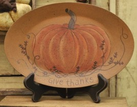 Give Thanks Pumpkin Plate Wood 31194 Fall Plate