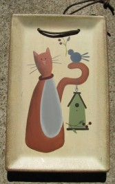 31720C - Cat Birdhouse Wood Plate