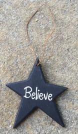 Primitive Ornament Black Believe Wood Star