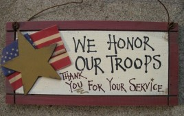 33576T - We honor our Troops wood sign