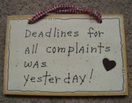 35235 - Deadlines for all complaints was yesterday Wood sign