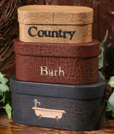 3B1181-Country Bath Nesting Boxes set of 3 boxes