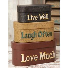 3B1124-Live Laugh Love set of 3 nesting boxes