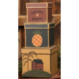 3B1305-Welcome Friends set of 3 nesting boxes