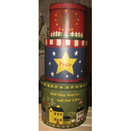 53303GBA - God Bless America set of 3 Nesting Boxes