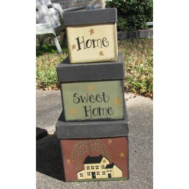 Primitive Nesting boxes 53527set of 3 Home Sweet Home Paper Mache'