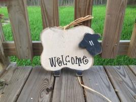 Primitive wood Sheep 6008 Baby Welcome  Sheep