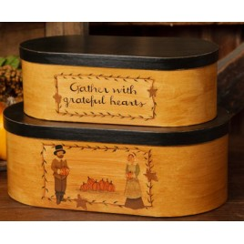 Fall Decor Primitive Nesting Boxes 6B2943 -Gather with Grateful Hearts