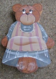 Wood Bear 709BB-Blue Bear Shelf Sitter Girl