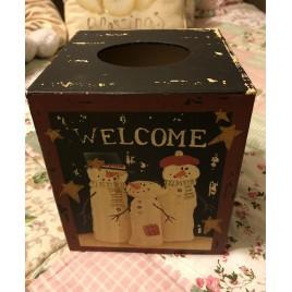 Kleenex Box Cover Paper Mache' 7TB341 - Welcome Snowman