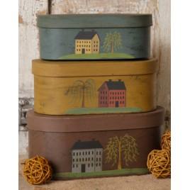 8B2107BM Primitive House set of 3 Nesting Boxes