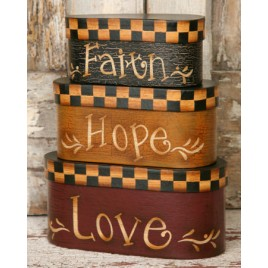 Faith Hope Love Nesting Boxes 8B2925 set of 3 paper mache'
