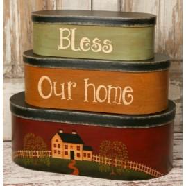 8B2932-Bless This House  set of 3 Nesting Box