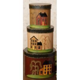 Primitive Nesting Boxes 8B2941-Salt Box Houses Nesting Boxes Set of 3 Paper Mache'