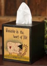Primitive Tissue Box Cover Paper Mache' 8tb301-Friendship is the Heart of Life
