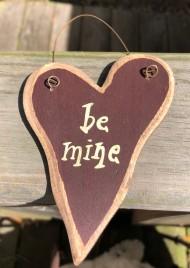 9003BM - Be Mine wood Heart burgundy
