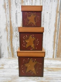 Primtiive Nesting Boxes 9600 Star and Vine Set of 3 boxes