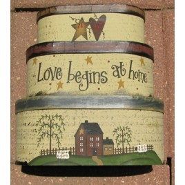 B11LBH- Love Begins at Home set of 3 nesting boxes