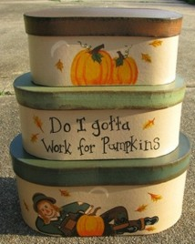 Primitive Scarecrow Nesting Boxes B11SC - Fall Stacking Boxes s/3 Paper Mache'