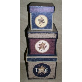 B14LLL-Live Love Laugh set of 3 nesting Boxes