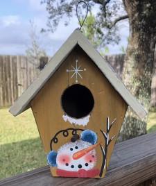 Primitive Wood Snowman Birdhouse 90015Y- Yellow