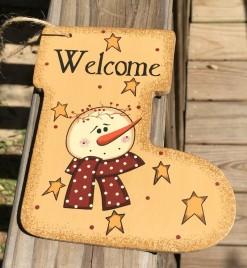 Primitive Wood 2388 Welcome Snowman Christmas Ornament