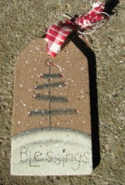 JS34847SCT- Snowman Blessings wood Gift Tag