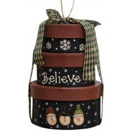 Mini Primitive Nesting Boxes M6107 Believe Box Ornament Paper Mache'
