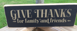 Primitive Country Wood Block T2089 Give Thanks for family and friends