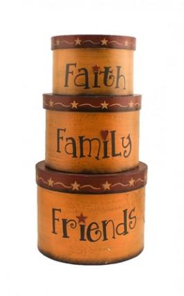 TWA1462  Faith Family Friends set of 3 nesting boxes