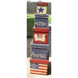 38348A- America 1776 set of 5  nesting boxes