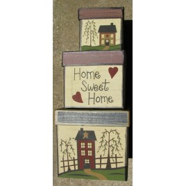 B15HSH- Home Sweet Home set of 3 paper mache nesting boxes