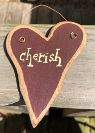 9003C - Cherish burgundy wood heart