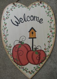 Primitive Fall Decor  CWF0203-Welcome Pumpkin Heart