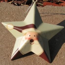 Metal Christmas Ornament OR206 - santa metal star