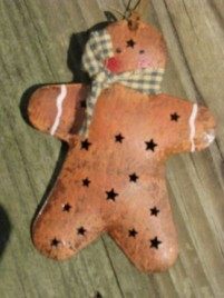 Christmas Metal Ornament OR302 - Gingerbread Man