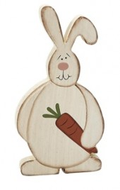 RW8406 Bunny w/Carrot wood shelf sitter