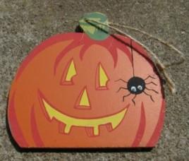 WD46- Wood Pumpkin with Spider