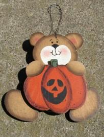 Primitive Fall Decor 57 - Bear with Pumpkin