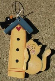 Cat Birdhouse WD97- cat on Birdhouse